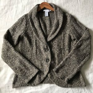 CAbi 340 Knit Blazer Camel Brown Black Sweater